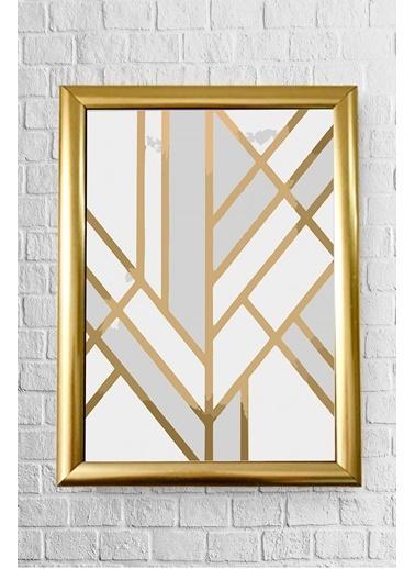 Lyn Home & Decor Beyaz Gold Geo Çerçeveli Poster Tablo 23.5X33,5 Altın